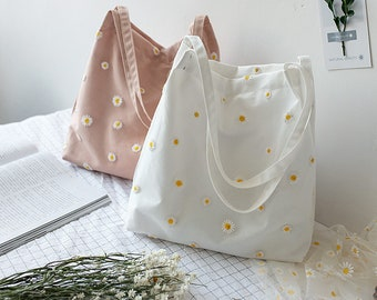 Daisy Flower Canvas Shoulder Bags,,Tote Bag,Everyday Bag,Shopping Bag