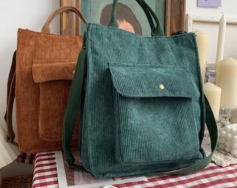 Corduroy Shoulder Bag,Handbag,Shoulder Messenger Bag,Tote Bag For Shopping,Corduroy Bag