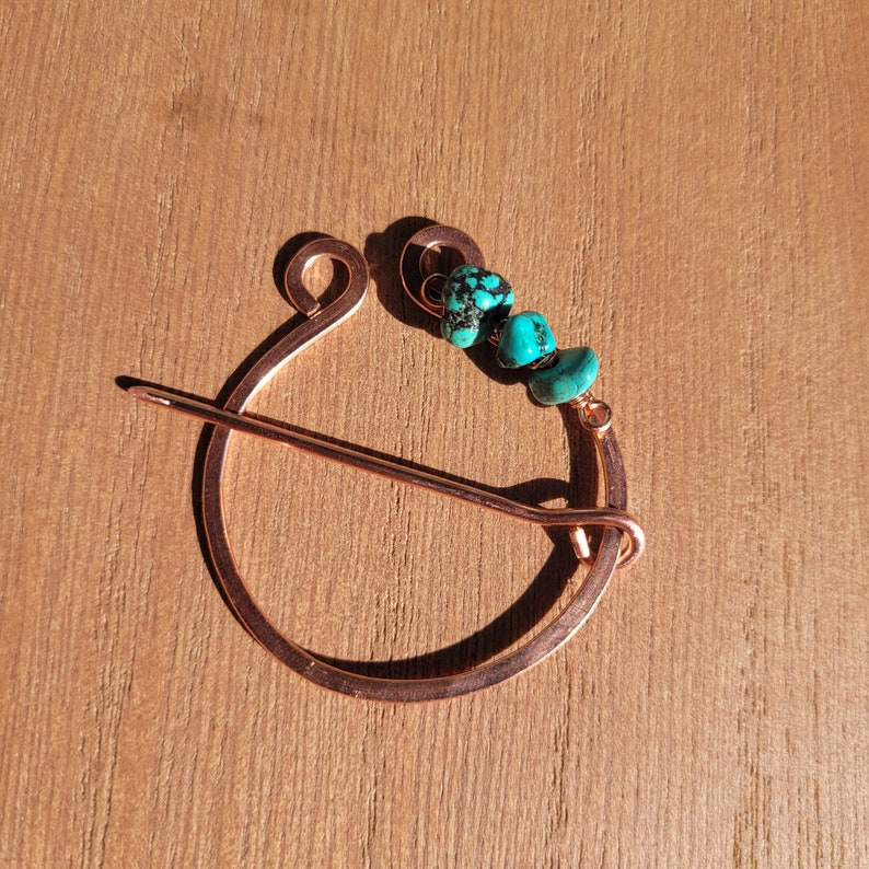 Shawl Pin Turquoise Copper Penannular Pin