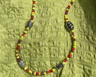 Gift under 10.00 Yellow Necklace Red Necklace Hippie Necklace Orange Necklace Boho Necklace