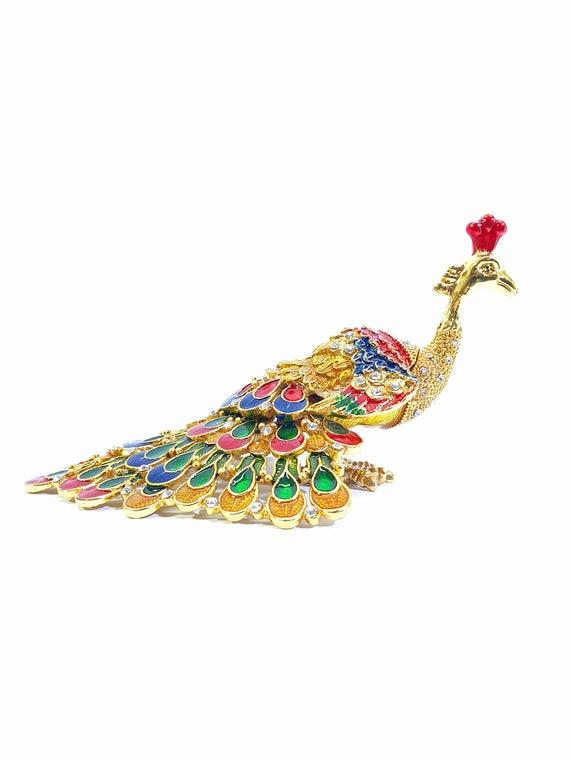 Peacock Jewellery Box, Vintage Peacock Figure