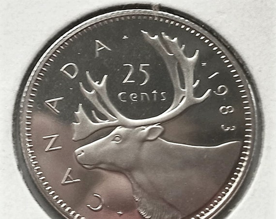 Low Mintage QUARTER 1983 Canada 25 CENTS Canadian Brilliant Uncirculated Frosted Proof coin from low mintage year