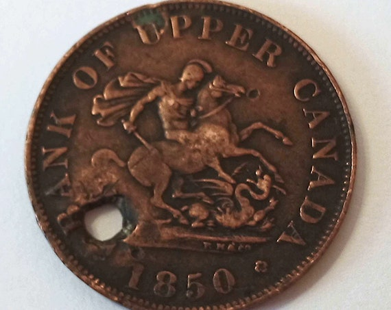 1850 Canadian Half Penny, Early Bank of Upper Canada Token, 1/2 cent copper coin with hole for pendant or keyring ~ 171 years old