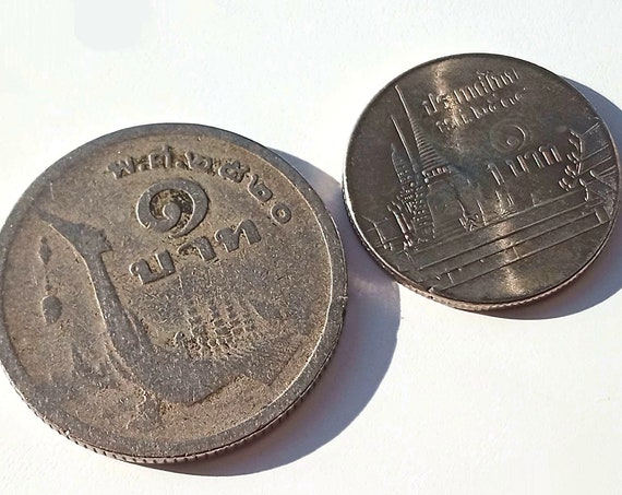Vintage Thai Coins, pair of vintage coins from Thailand ~ 1977 BHAT COIN ply 1988 1 Bhat Thai Coin
