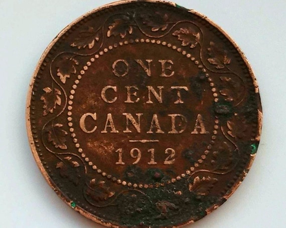 1912 Canada PENNY, large 1 cent Canadian copper COIN with King George V nice patena and 109 years old