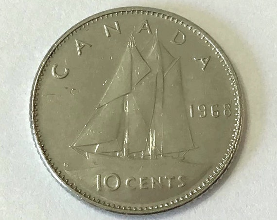 CANADA 1968 DIME, Canadian 10 cent coin with Queen Elizabeth II ~ nearly 60 years old, bluenose schooner sailboat ship