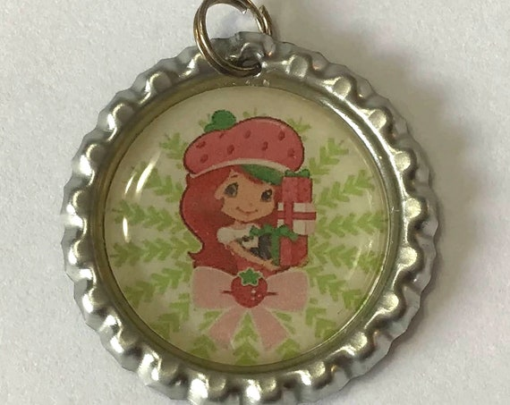 Strawberry Shortcake Keychain, attach to your keyring or use as a pendant for necklace, girl holding gifts, 70's and 80's cartoon character