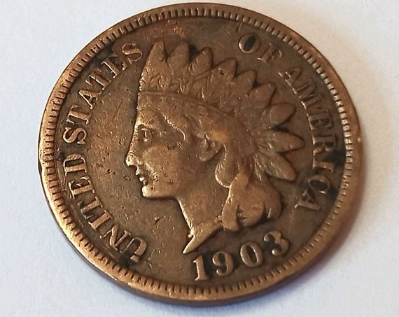 1903 American PENNY, USA copper 1 cent coin with Indian Head ~ nearly 120 years old