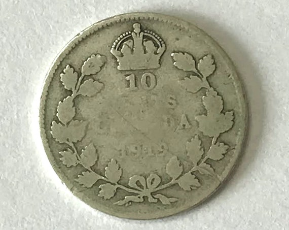 CANADA silver DIME, 1919 Canadian 10 cent coin with King George V, over 100 years old