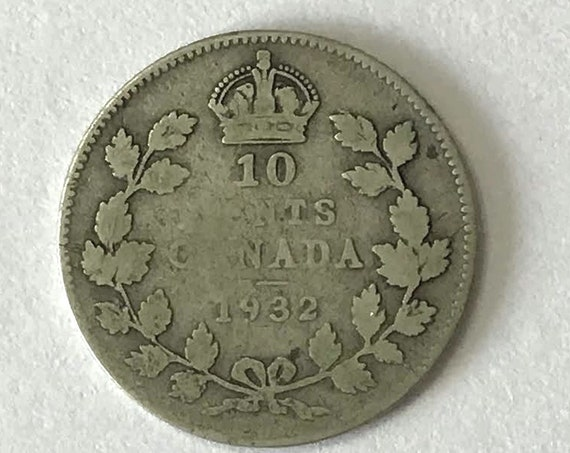 CANADA silver DIME, 1932 Canadian 10 cent coin with King George V, 89 years old