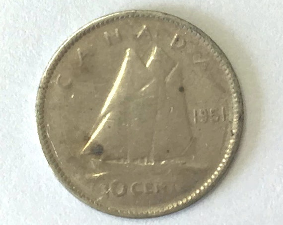 CANADA silver DIME, 1951 Canadian 10 cent coin with Queen Elizabeth II ~ 70 years old