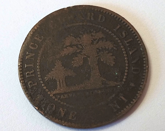 PEI Canada Penny, 1871 Victorian Canadian large 1 cent Prince Edward Island copper coin with Queen Victoria and 150 years old