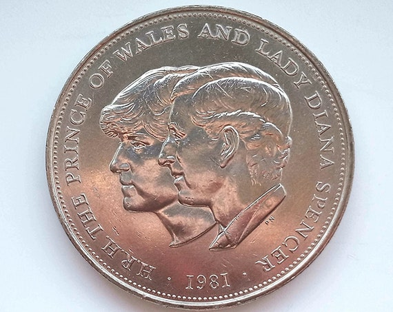 Royal Wedding Coin, 1981 Great Britain UK 25 New Pence , Wedding of Prince of Wales Charles and Lady Diana Spencer, Commemorative medallion