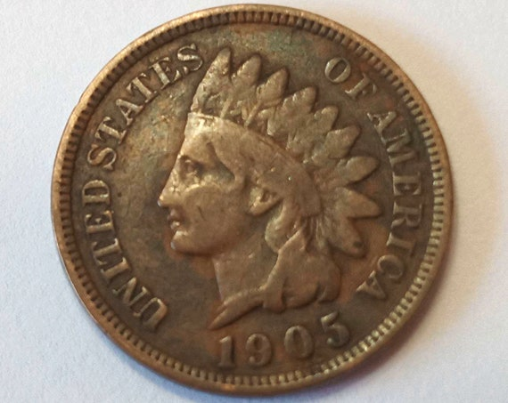 1905 American PENNY, USA copper 1 cent coin with Indian Head ~ 116 years old