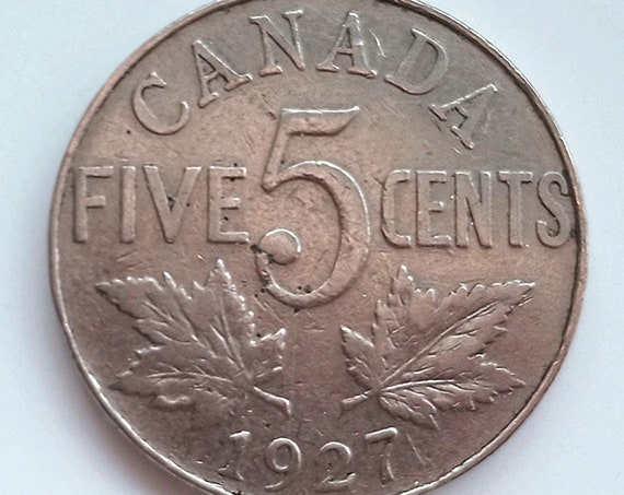 CANADA NICKEL 1927, 94 years old, very good, Canadian 5 cents coin with King George V