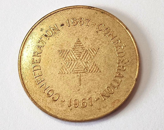 Canadian 1967 Confederation MEDALLION, COIN or TOKEN 32mm Commemorative Brass Medal commemorating Canada 100th