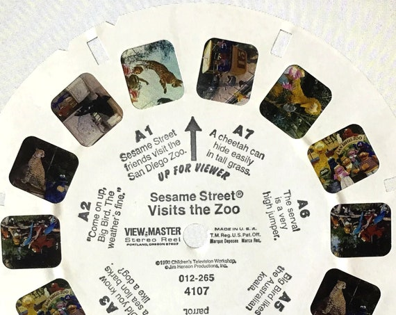 "Sesame Street ViewMaster REEL, in ""Visits the Zoo"" 1990 single 012-265 4107, Reel A, Jim Henson Children's Television Workshop"