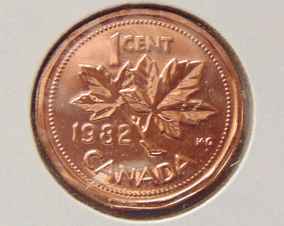 Canada PENNY 1982, copper Mint State from original roll, uncirculated Canadian 1 cent coin Maple Leaf with Queen Elizabeth II