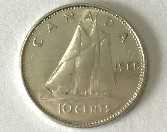Canada silver DIME, 1965 Canadian 10 cent EF coin with Queen Elizabeth II ~ nearly 60 years old, bluenose schooner sailboat ship