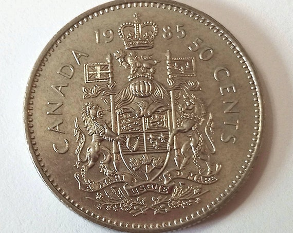 Canada 50 cents, 1985 CANADIAN Fifty Cent Piece with Queen Elizabeth II AU Half Dollar Coin