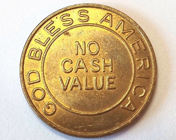 """Religious Pocket Piece, Coin, TOKEN, Medal or MEDALLION, """"God Bless America"""" no cash value """"Libertys Last Chance"""" possibly arcade token"""
