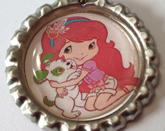 Strawberry Shortcake Keychain, attach to your keyring or use as a pendant for necklace, girl with puppy, 1970's and 80's cartoon character