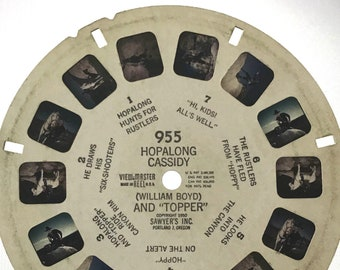 """HOPALONG CASSIDY Reel for View-Master, 1950 single REEL 955, (William Boyd) and """"Topper"""", Sawyer's Inc."""