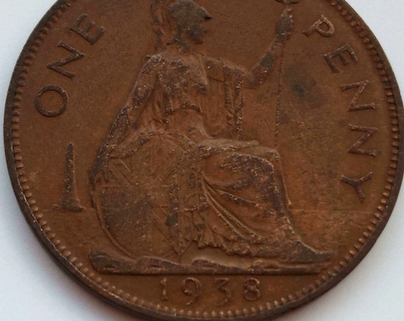 Great Britain Penny, 1938 UK (British) Great Britain Coin - 1 One PENNY with King George VI a large coin with nice color tone