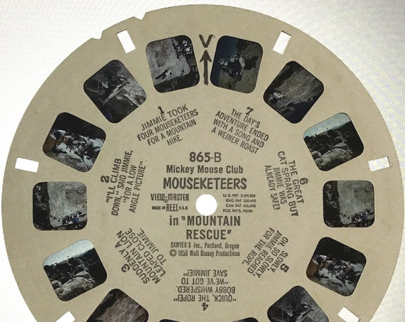 """Mickey Mouse Club MOUSEKETEERS REEL, Sawyer's View-Master 1956 single 865-B REEL B, Walt Disney's Classic """"Mountain Rescue"""""""