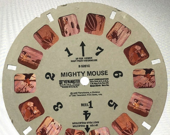 Mighty Mouse ViewMaster REEL, 1958 Terrytoons CBS single B 5261C View Master Reel 1, GAF Corporation