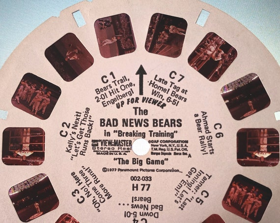 """Bad News Bears ViewMaster REEL, in """"Breaking Training"""" 1977 single 002-033 H 77 """"The Big Game"""" View Master Reel C, GAF Corporation,"""