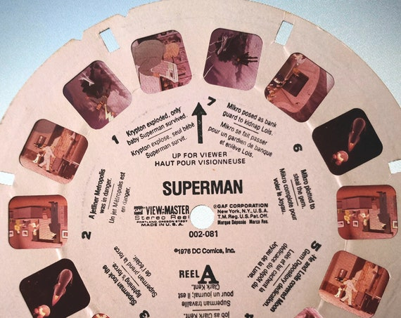 Superman ViewMaster REEL, 1976 DC Comics single 002-081 View Master Reel A, GAF Corporation,