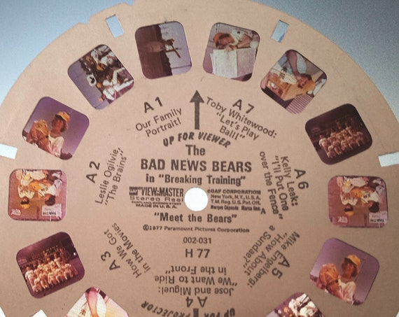 """Bad News Bears ViewMaster REEL, in """"Breaking Training"""" 1977 single 002-031 H 77 """"Meet The Bears"""" View Master Reel A, GAF Corporation,"""