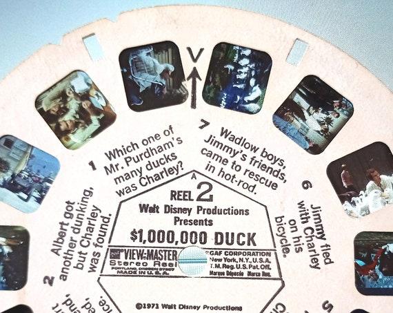 Disney ViewMaster Reel, vintage View-Master REEL 2 Walt Disney's 1,000,000 dollar DUCK 1971 single B 5062