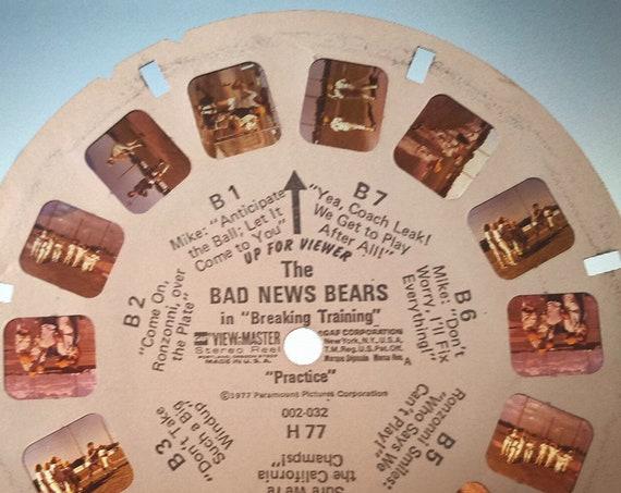 "Bad News Bears ViewMaster REEL, in ""Breaking Training"" 1977 single 002-032 H 77 ""Practice"" View Master Reel B, GAF Corporation,"