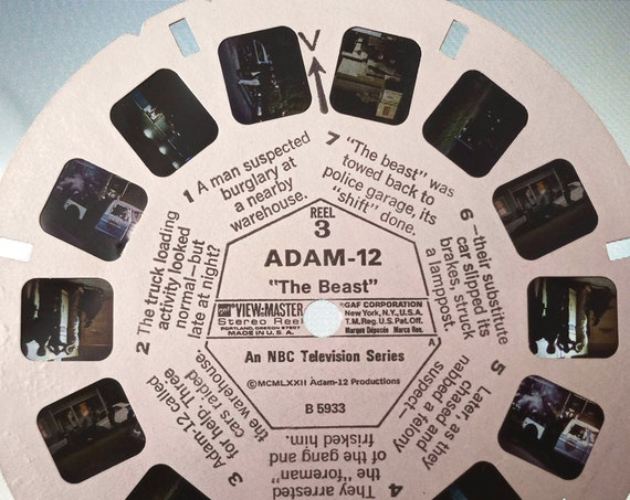 Adam 12 Reel, GAF View-Master single B 5933 'The Beast' REEL 3, NBC 1972 Police television series