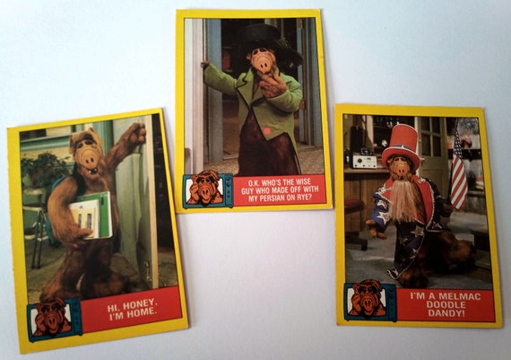 ALF Trading Cards, 3-pack bubble gum trading cards from the 80's TV show, excellent condition, card 10, 36, 45