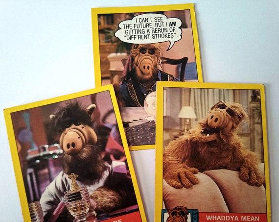 ALF Trading Cards, 3-pack bubble gum trading cards from the 80's TV show, excellent condition, card 2, 26, 46