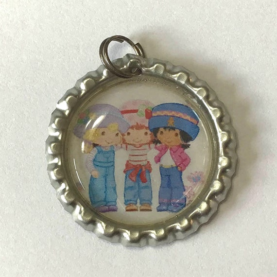 Strawberry Shortcake Keychain, attach to your keyring or use as a pendant for necklace, girl with friends, 70's and 80's cartoon character