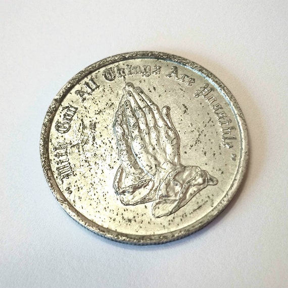"Religious Pocket Piece, Coin, TOKEN, Medal or MEDALLION, ""With God All Things Are Possible"" Life-Study Fellowship, Noroton, Connecticut, USA"