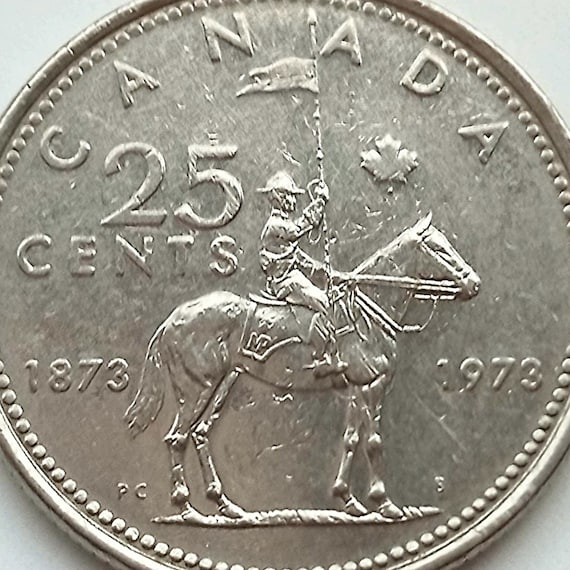 1973 Canada QUARTER 25 CENTS Coin featuring mountie Royal Canadian Mounted Police 100th RCMP