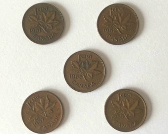 1950's Pennies, set of five, 1951 1952 1953 1957 1959 CANADA one cent Canadian 1 PENNY copper coin  LOT