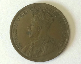 1917 Canada PENNY, large 1 cent Canadian copper COIN with King George V very good and 104 years old