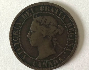 1901 Canadian Large Cent, 1 cent penny Canada copper COIN with Queen Victoria, 120+ years old