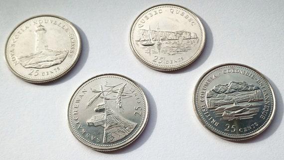 1992 Canadian Quarter, lot of 4 Canada 125th Provincial QUARTERS 25 CENTS with Provinces Nova Scotia, Quebec, Saskatchewan, British Columbia