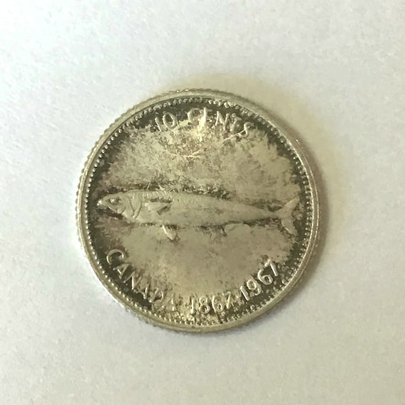 CANADA silver DIME, 1967 Canadian 100th 10 cents Centennial ten cent coin with Queen Elizabeth II