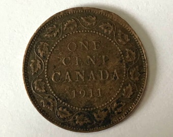 1911 Canada Penny, Canadian Large Cent, 1 cent copper COIN with King George V, 110 years old