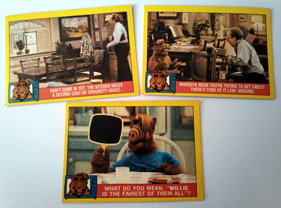 ALF Trading Cards, 3-pack bubble gum trading cards from the 80's TV show, excellent condition, card 8, 15, 40