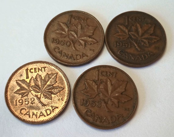 Early Fifties Pennies, 1950 1951 1952 1953 CANADA one cent Canadian 1 PENNY copper coin  LOT