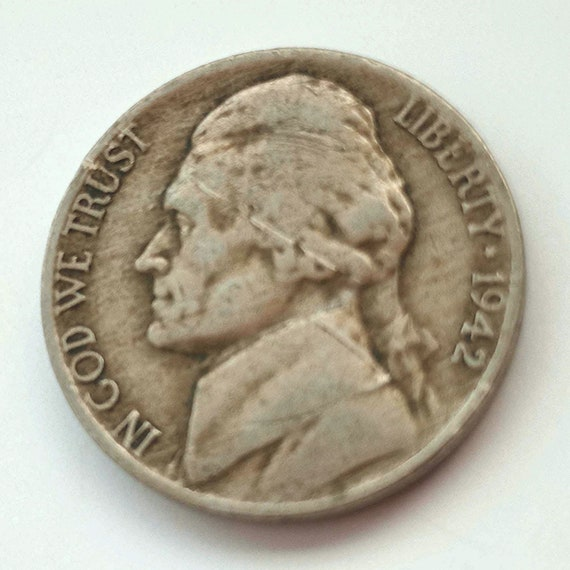1942 American Nickel, 5 cents 1942 USA Jefferson NICKEL Montecello coin United States of America